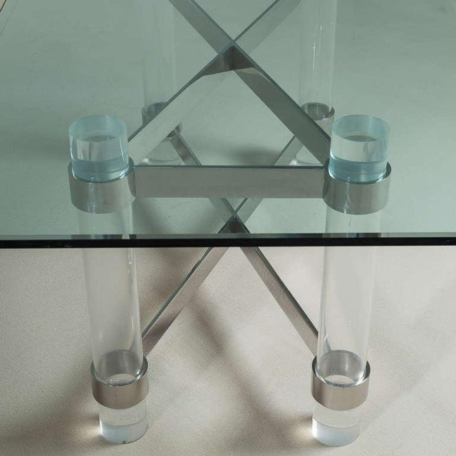 A Superb Lucite and Chromium Steel Based Dining Table 1970s For Sale - Image 4 of 9