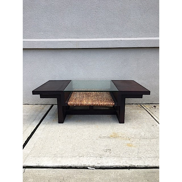 Mid-Century Glass and Rattan Coffee Table - Image 3 of 7