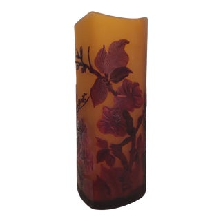 Art Nouveau-Inspired Galle Style Art Glass Vase For Sale