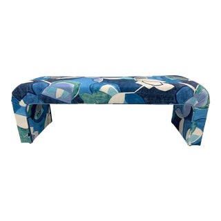 Vintage Springer Style Waterfall Bench in Art Print Donghia Velvet For Sale