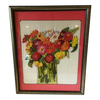 "Chinoiserie Crewel ""Zinnias"" Still Life Framed Hand Stitched Textile Art For Sale"