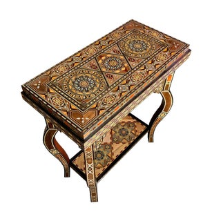 Mosaic Wood Inlay Folding Game Table For Sale