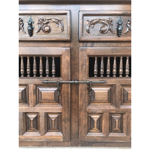 20th Century Spanish Carved Dark Walnut Tuscan Two Drawers Credenza or Buffet For Sale - Image 9 of 13