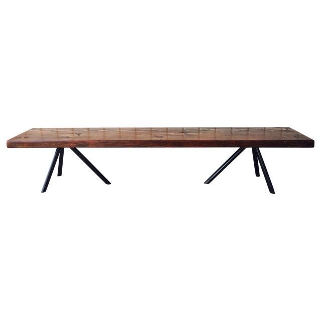 Reclaimed Wood & Industrial Steel Bench - Image 1 of 5