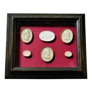 Antique Grand Tour Italian Intaglios With Ebonized Wood Frame For Sale