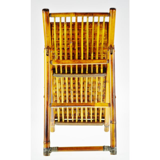Brown Mid Century Bamboo and Rattan Two Tier Folding Magazine Rack For Sale - Image 8 of 13