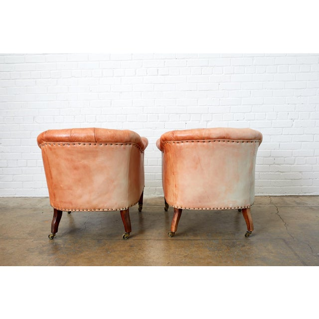 Pair of English Tufted Leather Chesterfield Club Chairs For Sale - Image 12 of 13