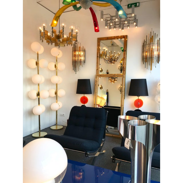 Huge tall contemporary floor lamp brass and opaline Murano glass ball. A great pair possible. Price by lamp. Very...