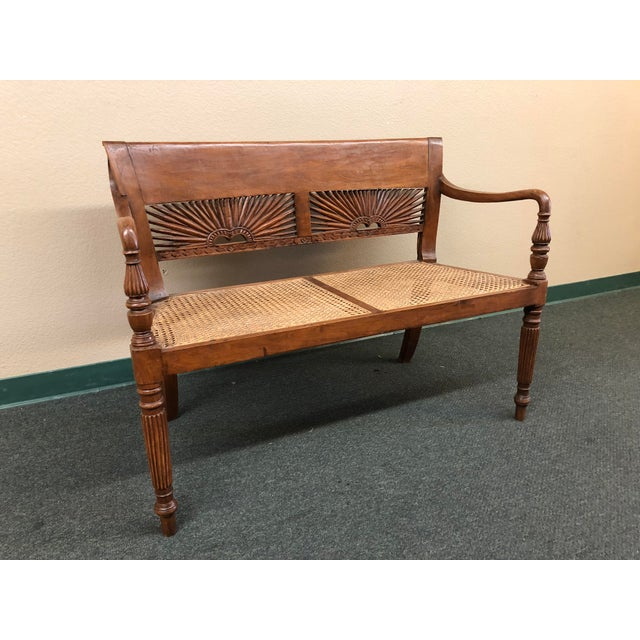 Traditional 1960s Vintage Hand-Carved Caned Bench For Sale - Image 3 of 12