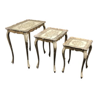 Gold Guilded Nesting Tables - Made in Italy For Sale