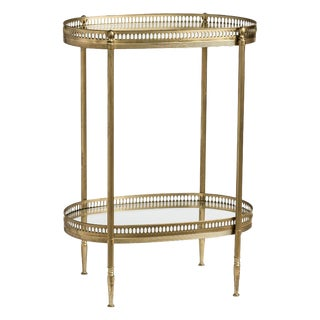 French Oval Brass Two-Tiered Small Side Tables After Maison Jansen For Sale