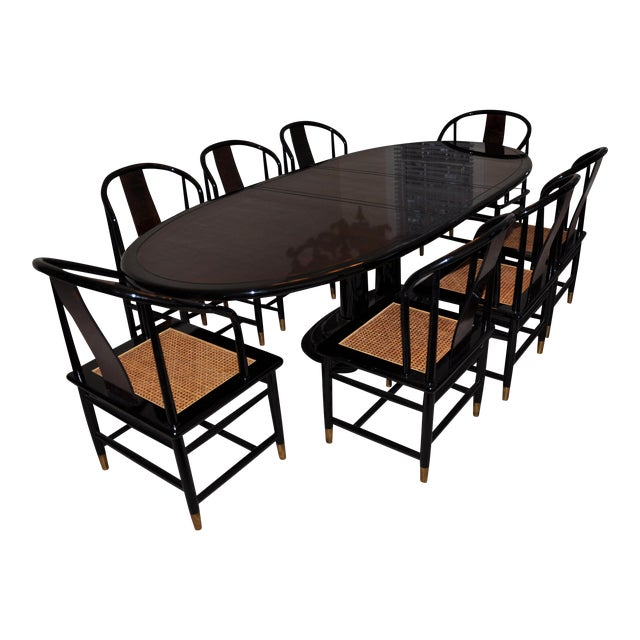Henredon Black Lacquer Dining Set 9 Pieces Chairish