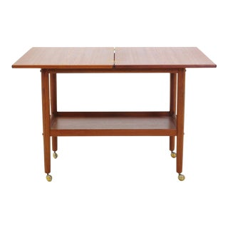 Grete Jalk Teak Serving Cart or Bar Trolley, Expandable Top For Sale