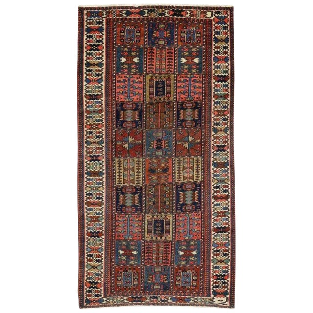 "Antique Bakhtiari Pink and Blue Wool Rug - 5'1"" X 10'4"" For Sale"