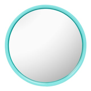 Pentreath & Hall Collection Small Round Mirror in Olive Green / Tiffany Blue For Sale