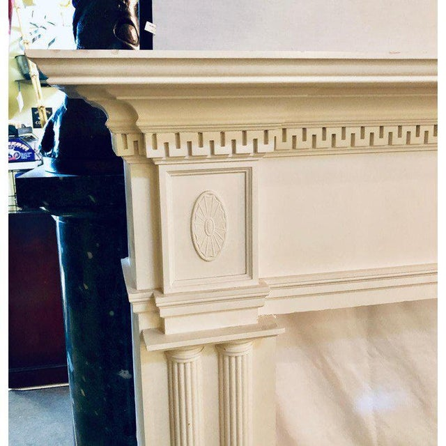 Neoclassical Monumental Hand Carved Fire Place Surrounds - a Pair For Sale - Image 4 of 13