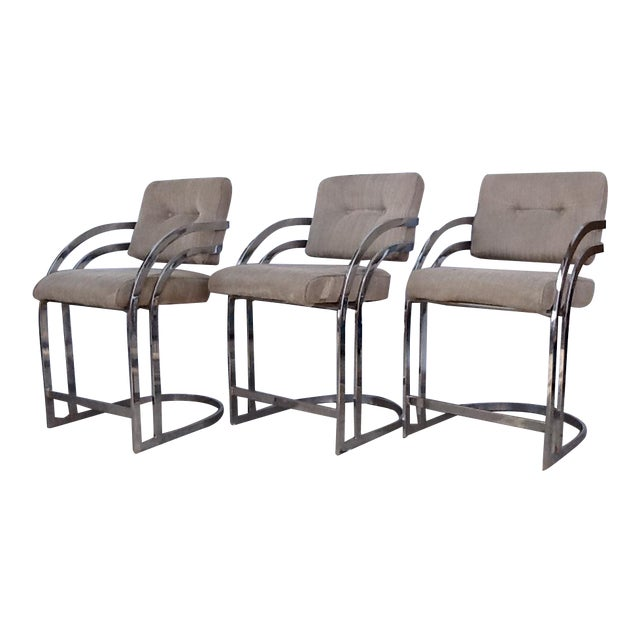 Milo Baughman Cantilevered Chrome Stools - Set of 3 - Image 1 of 10