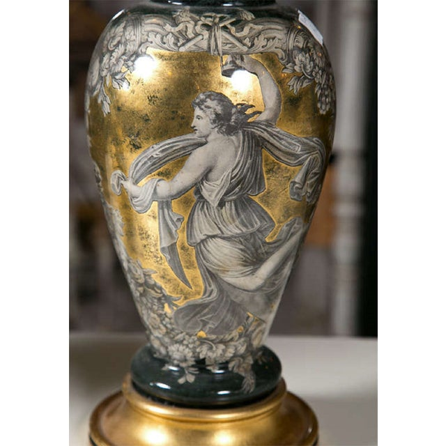 Classical Design Reverse Glass Lamps - Pair - Image 5 of 8