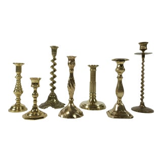 Assorted Brass Candlestick, S/7 For Sale