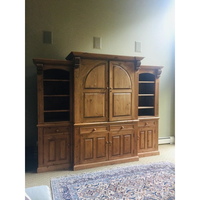 Vintage Hand Carved Pine 3 Piece Library Wall Unit. A gorgeous storage piece!