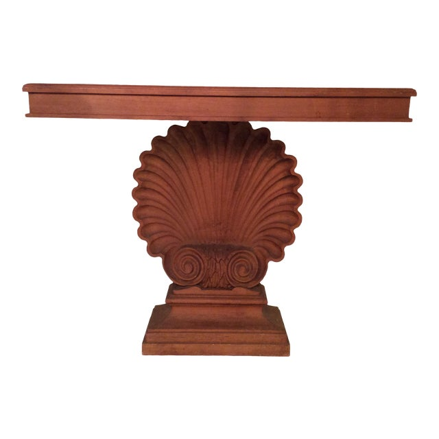 Nautical Edward Wormley Style Shell Hall Table in Raw Mahogany For Sale