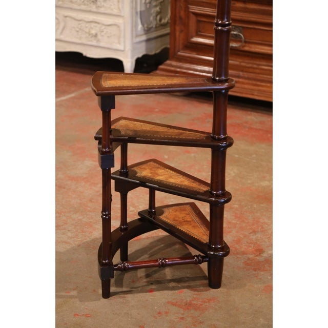 Metal Mid-20th Century English Carved Mahogany and Leather Spiral Step Library Ladder For Sale - Image 7 of 9