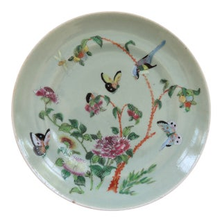 19th Century Chinese Chinoiserie Style Celadon Famille Rose Plate For Sale