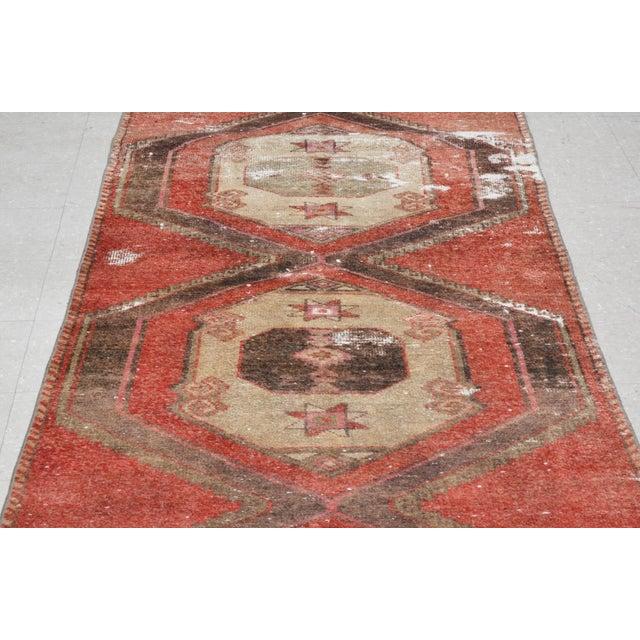 "Boho Chic 1950s Boho Chic Brick Red and Brown Wool Kurdish Runner - 3'2""x13'6"" For Sale - Image 3 of 7"