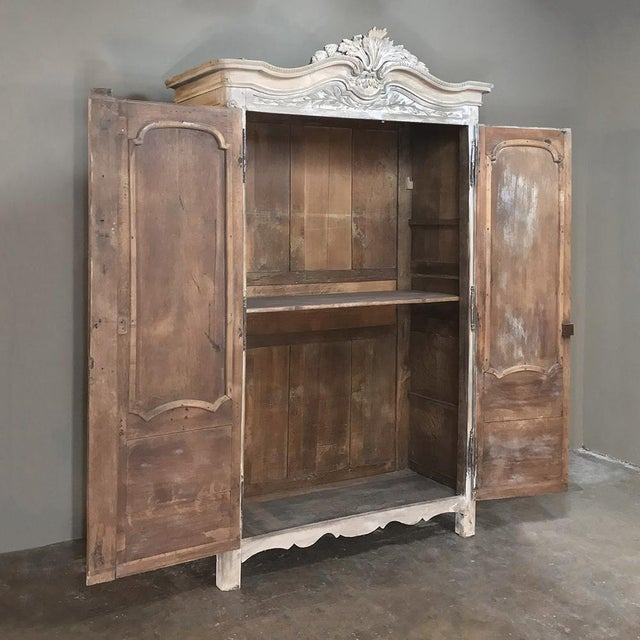 18th Century Country French Louis XVI Period Whitewashed Armoire with sculpted floral and foliate motifs appearing in...