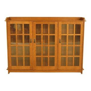 Stickley Mission Oak Triple Door Bookcase For Sale
