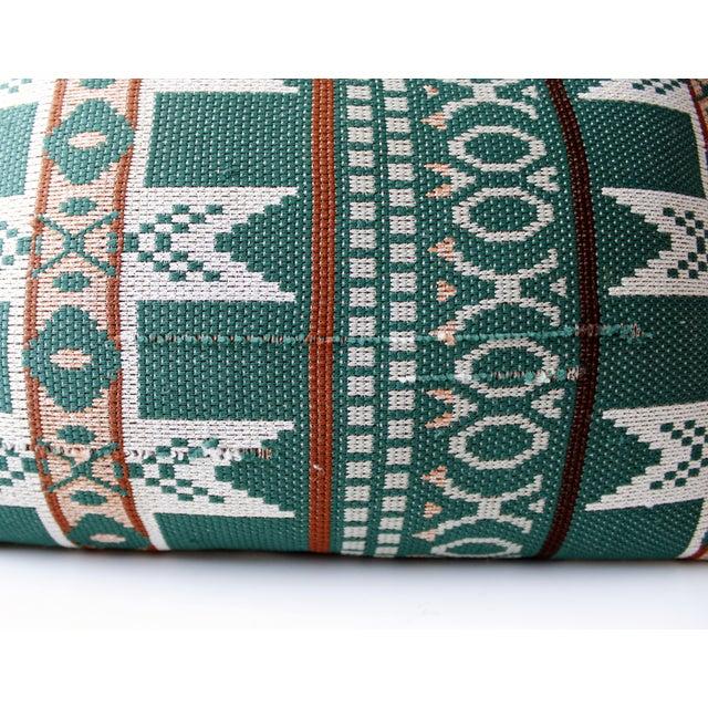 Vintage Bohemian Ikat Green Kilim Pillow - Image 6 of 6
