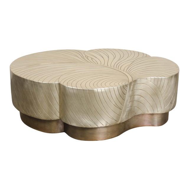 Leaf Design Cocktail Table - Brass For Sale