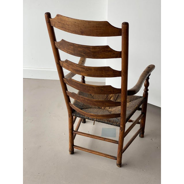 American Early 20th Century Extended Ladder Farm Back Chair For Sale - Image 3 of 9