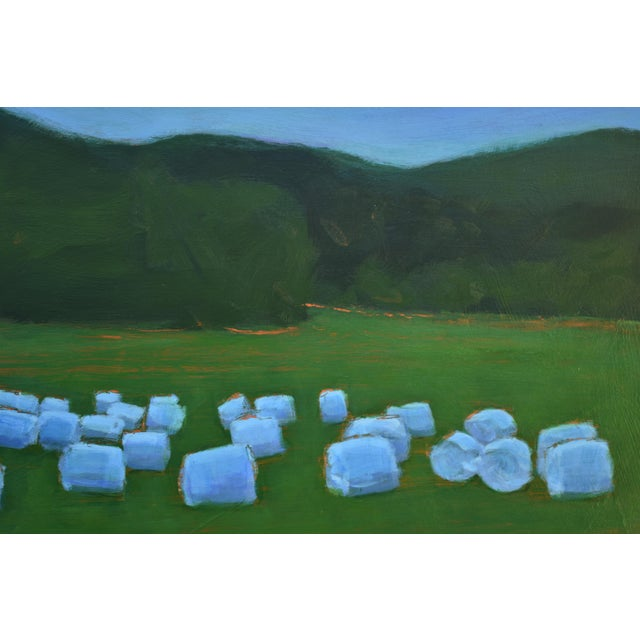 "Contemporary ""Baled Hay at Dusk"" Contemporary Painting by Stephen Remick For Sale - Image 3 of 11"