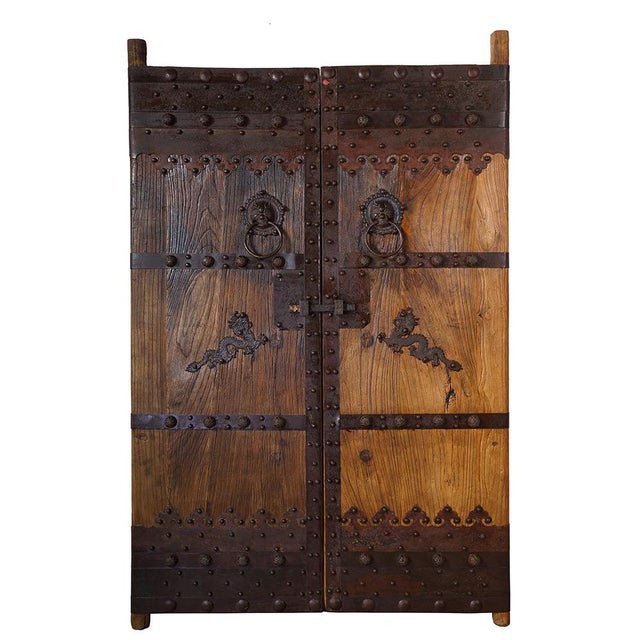 Chinese Antique Massive Court Yard Door Panels-A Pair For Sale - Image 12 of 12