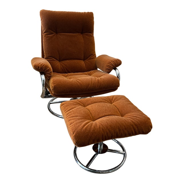 1990s Ekornes Rust Mohair Recliner and Ottoman For Sale