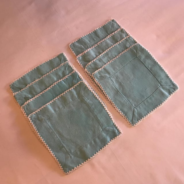 Cottage Turquoise Linen Cocktail Napkins - Set of 6 For Sale - Image 3 of 5