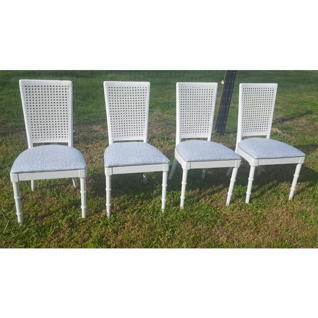 Set of 4- White Palm Beach Regency Faux Bamboo Caned Dining Chairs For Sale - Image 5 of 13