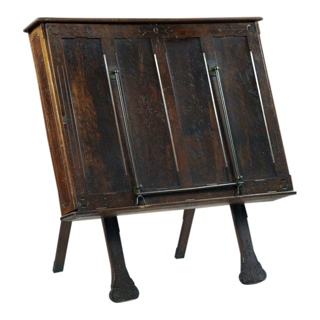 Antique Carved Walnut Folio Cabinet - Image 1 of 3