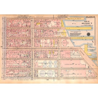 New York City Map East Side Kip's Bay, E. 20th - 26th St., West Side Chelsea Piers, W. 23rd - W. 32nd St., 1927 (Pl. 51-52) For Sale