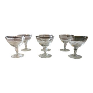 Mid-Century Modern Goblets With Silver Rims - Set of 6