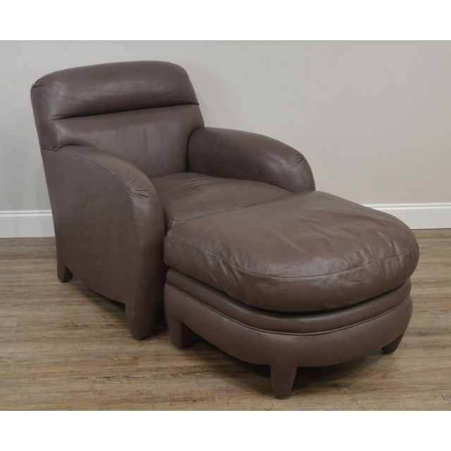 High Quality American Made High Grade Genuine Leather Upholstered Lounge Chair with Ottoman