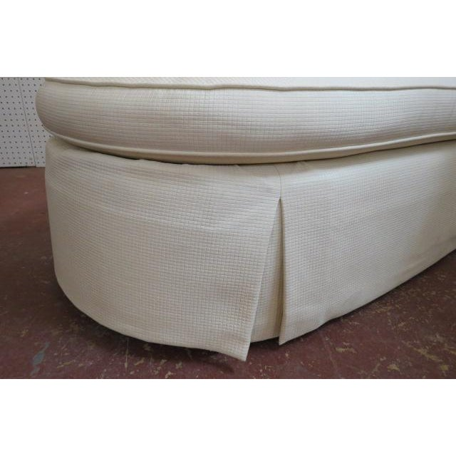 $695. Vintage Cream fabric custom Chaise lounge, c1980. Barrel back, rolled arms, skirted bottom. Upholstered in a cream...