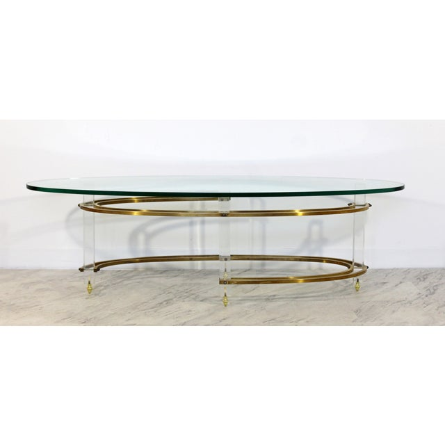 1970s Mid Century Modern Brass Lucite Surfboard Coffee Table Hollis Jones 1970s For Sale - Image 5 of 9