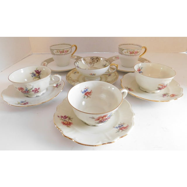 Antique Porcelain Demi-Tasse Cups & Saucers German and Limoges MIX and Match Sets - Service for 6 For Sale In New York - Image 6 of 13