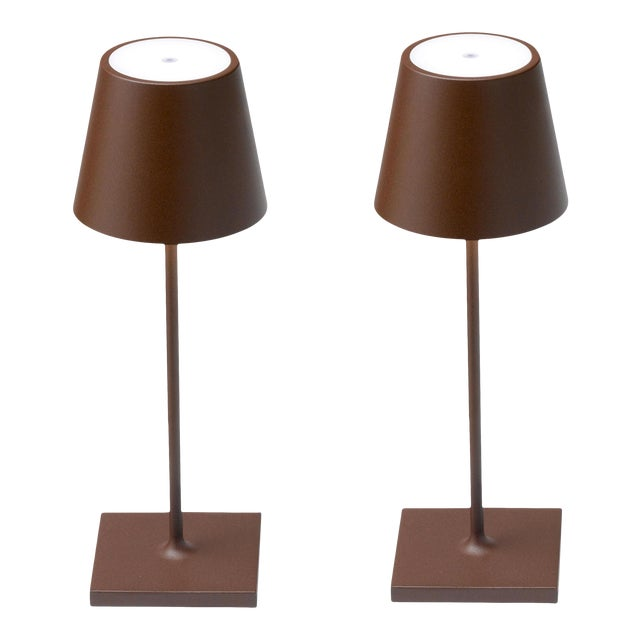 Zafferano Rust Rechargeable Indoor/Outdoor Cordless Mini Table Lamp - Pair For Sale