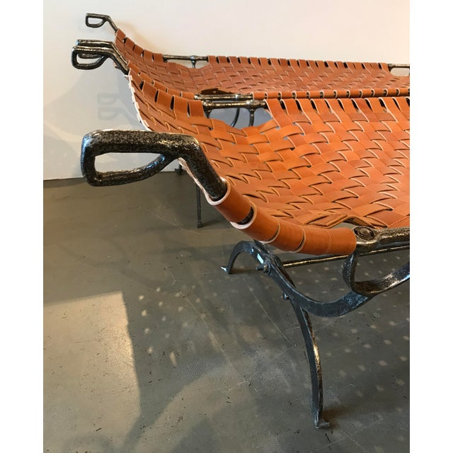 Pair of Early 19th Century Napoleonic Iron Campaign Beds With Leather Strapping For Sale In Boston - Image 6 of 9
