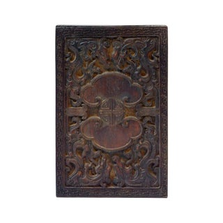 Chinese Vintage Handcrafted Dragon & LuYi Pattern Wood Paper Graphic Printing Stamp For Sale