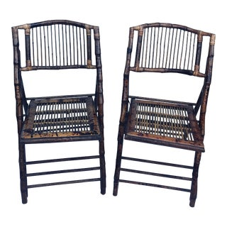 Tortoiseshell Bamboo Folding Chairs - a Pair For Sale