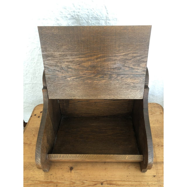 Farmhouse Mid 19th Century Victorian Firewood Pellet Bin Deeply Carved Lions Head Fireplace Hearth Accessory For Sale - Image 3 of 7